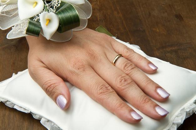 Свадебные руки с обручальным кольцом