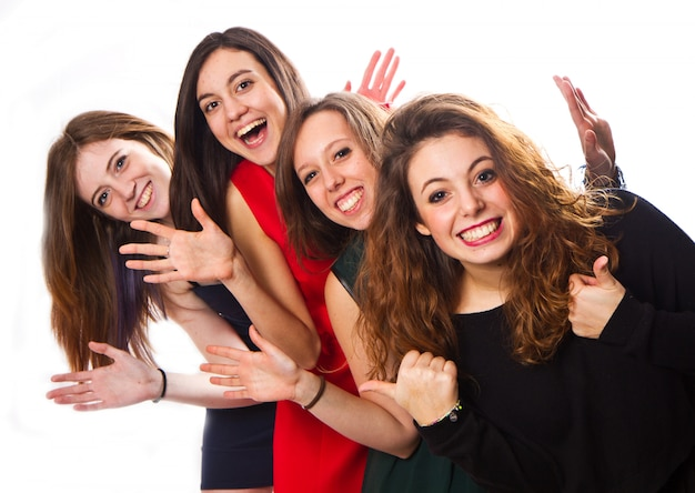 幸せな友達のグループの肖像画