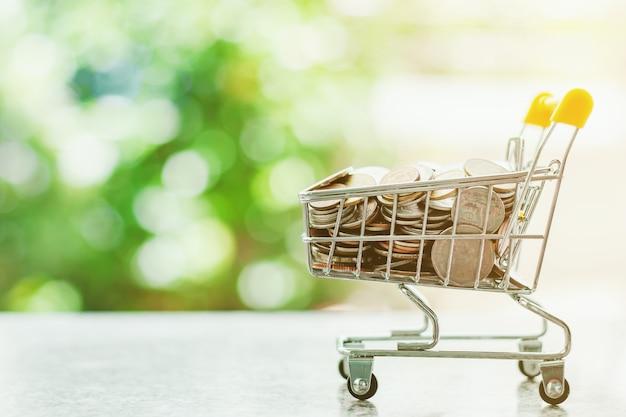 ミニショッピングカートやトロリーのぼやけた自然の緑の背景に対してお金コイン