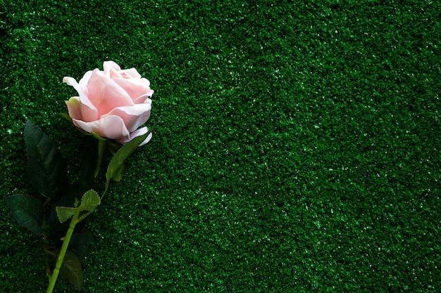 バレンタインの日と愛の概念のための緑の草にピンクのバラ