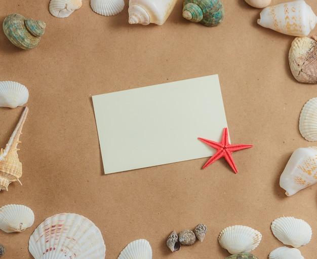 Рамка из ракушек на светлом фоне с рамкой пустой карты и морских звезд