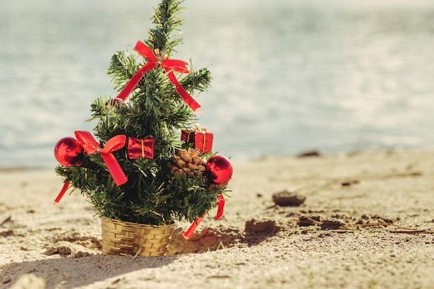 Рождественская елка на песчаном пляже