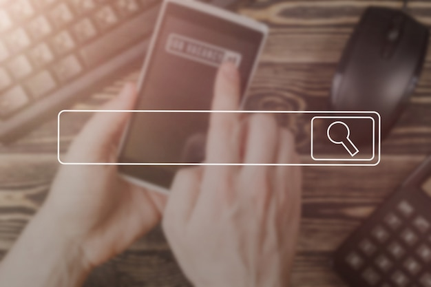 検索インターネットデータ情報ネットワークコンセプトソフトフォーカス画像の検索ヴィンテージコンセプト。