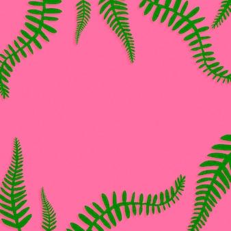 Розовый фон с зелеными листьями