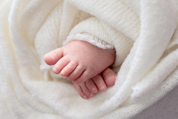 生まれたばかりの赤ちゃんの足、ピンクの花を持つ少女、足に指、母性の世話、愛と家族の抱擁、優しさ。