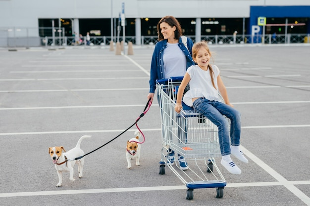 幸せな母と彼女の小さな娘の屋外撮影はひもにつないで犬と一緒に歩きます
