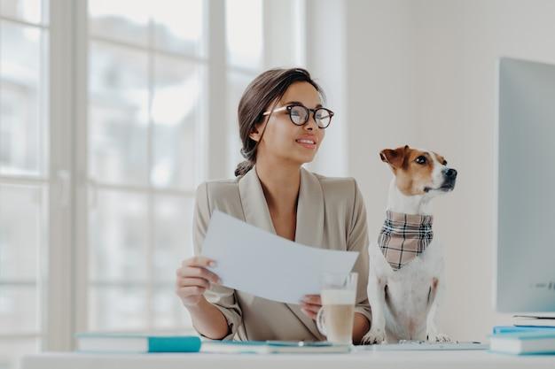 Счастливая коммерсантка работает от дома на самоизоляции, держит бумаги, проверяет информацию на компьютере, любимое животное позирует рядом.