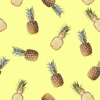 レモン、ライム、ミントの絵とのシームレスなパターン。