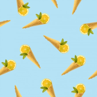 アイスクリーム、レモン、ミントの角の絵のシームレスパターン