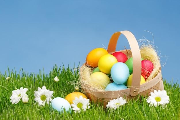 Корзина с крашеные пасхальные яйца на зеленой траве. концепция праздника пасхи.