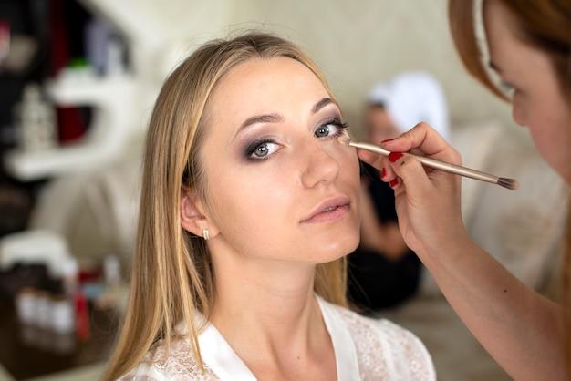 メイクアップアーティストは、女の子の顔に化粧をします
