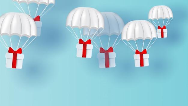 Белый парашют, плавающий на небе.