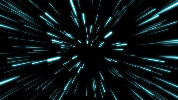 線の形状ネオンブルーとレッドライトダークストリークシンプル。