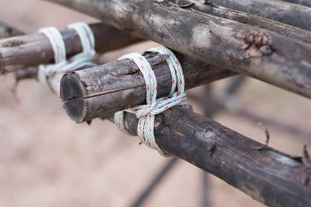 ロープは木に縛られました。