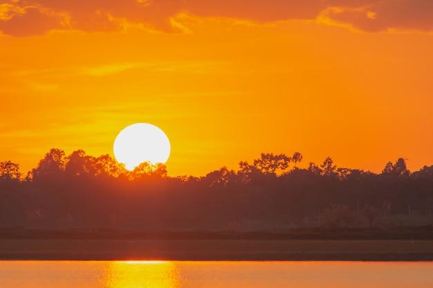 湖の夕日。上記の湖の風景の上の雲の後ろに美しい夕日