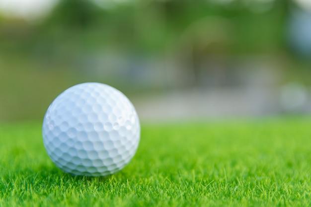 ゴルフ場でプレーする準備ができている緑の芝生の上のゴルフボール