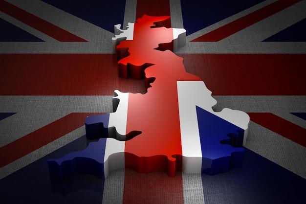 旗の上のイギリスの体積地図。