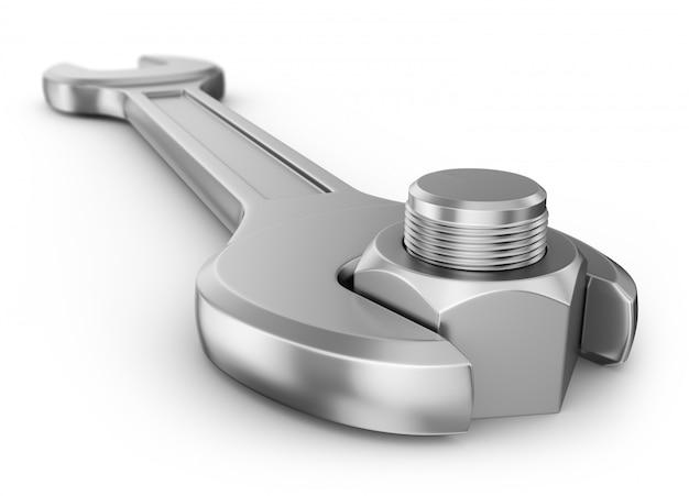 Гаечный ключ и гайка с резьбой