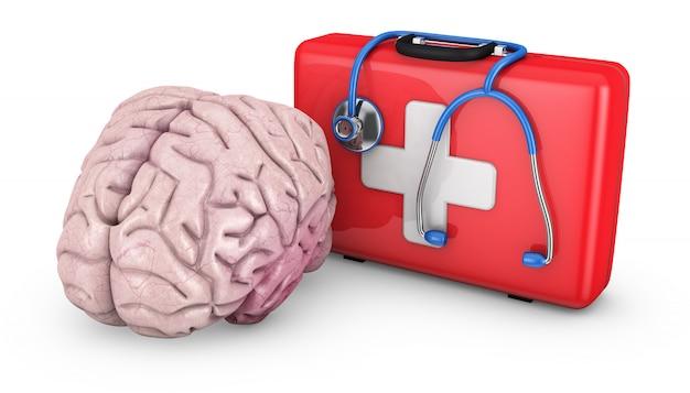 人間の脳と赤いスーツケース
