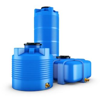 さまざまな形の水の容器