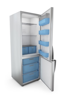 ドアを開けてモダンな冷蔵庫