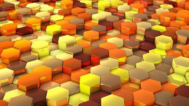 六角形の黄色の色合いの背景のネットワーク