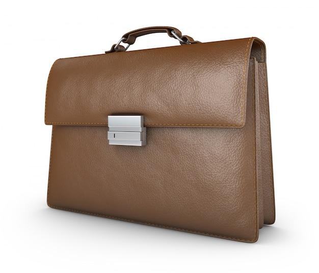 Коричневый кожаный портфель.