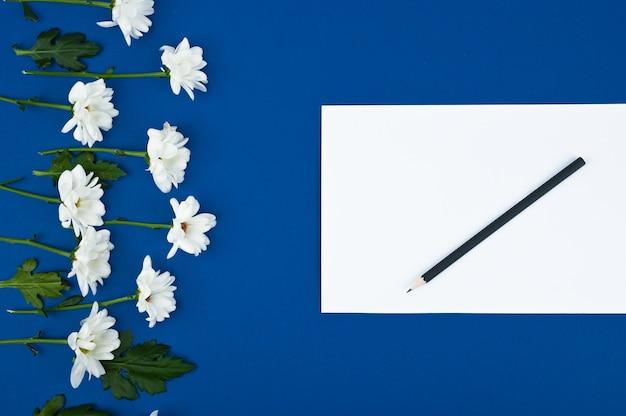 Креативная верстка картины из цветов. чистый лист бумаги поздравительных открыток. пространство для текста