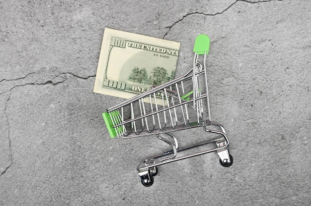 高価なショッピングのコンセプトです。お金でミニチュアショッピングトロリー。ショッピングの概念と電力経済。テキストのための場所