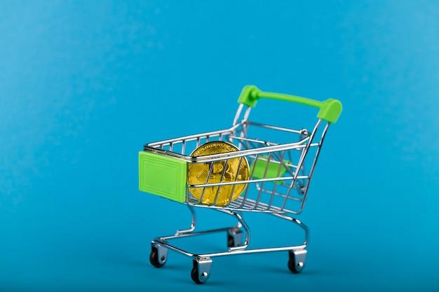青のショッピングカートのビットコイン