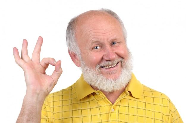 年配のハゲ男のジェスチャー