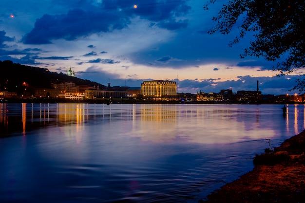 ウクライナキエフの首都の夕日