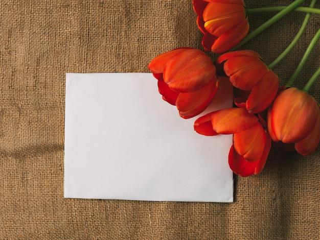 赤い花のチューリップと中央の碑文の場所。国際女性の日