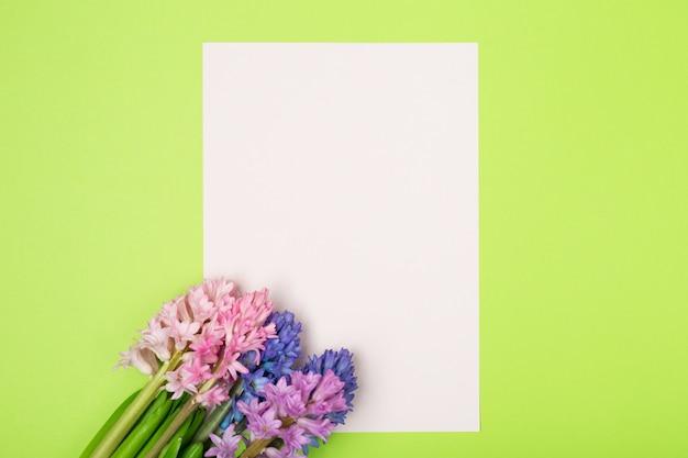 ヒヤシンスと白紙の花の組成。春の花の背景。イースターのコンセプト。平干し、