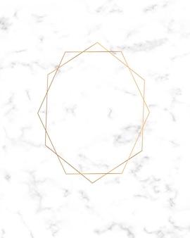 大理石のテクスチャ上の黄金の幾何学的なラインフレーム