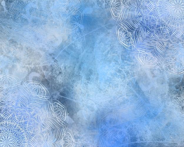 青い神秘的なデジタル抽象的なマンダラの背景。