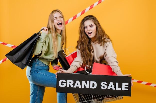 グランドセールサインと黄色で分離されたカートに紙の買い物袋を持つ幸せな悲鳴若い女性