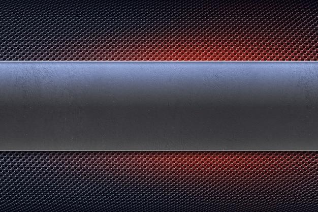 磨かれた金属板バナーと抽象的な穴あき金属板。工業用コピースペース
