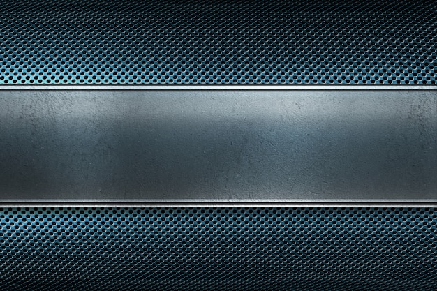 磨かれた金属板バナーと抽象的な現代的な青い色の穴があいた金属板