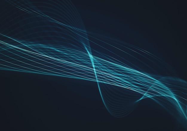 Абстрактный синий фон с линиями и точками, соединенными потоком