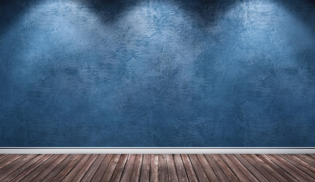 青い漆喰壁、木製の床のインテリアルーム。