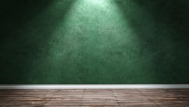 緑の漆喰壁と指向性ライトを備えた大きなモダンな部屋