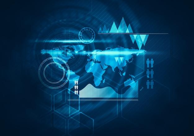 ビジネス技術の未来的な青い仮想グラフィックタッチユーザーインターフェース