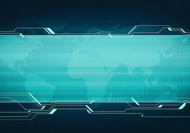 Бизнес технологии синий виртуальный пользовательский интерфейс баннер