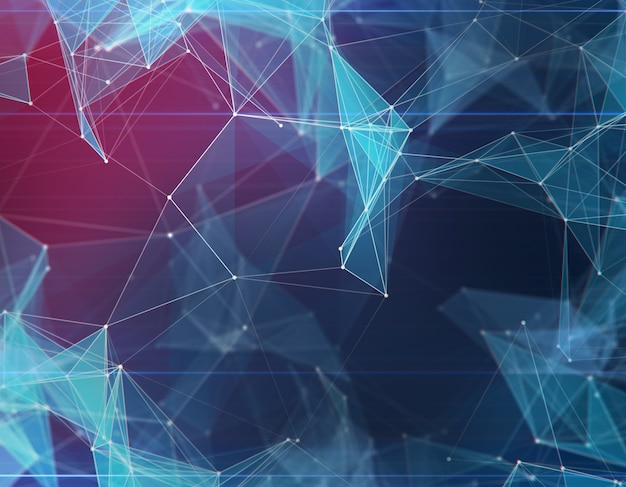 抽象的な多角形の青い空間の背景