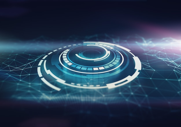 未来的なスペースは、抽象的な背景を持つインターフェイスをラウンドします。