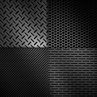 Четыре типа абстрактных современных серых перфорированных металлических текстур для фона