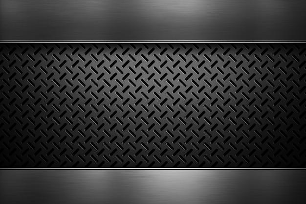 磨かれた金属板と抽象的な現代穿孔金属板