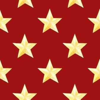 赤の金色の星と水彩のシームレスパターン。