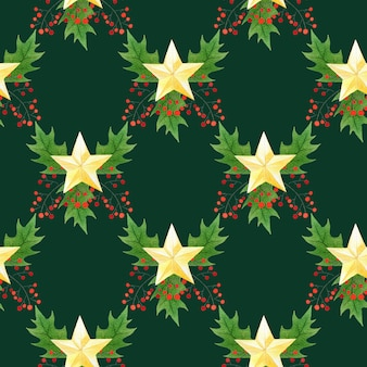 休日のデザインと水彩のシームレスなクリスマスのパターン。